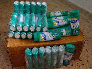 We have started to give out the 100+ Prickly Heat powder bottles to the children we help in Goa.