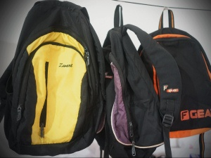 Some of the old school bags from last year that are going to new homes, thanks to the children