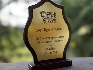 Childline awarded Robert for their appreciation for his help over the last year