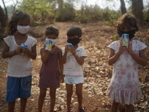 Four Children with the COVID-19 masks on